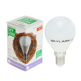 Лампа светодиодная Sky Lark, E14, G45, 4,5 Вт, 3500 K, холодный белый