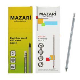 Карандаш чернографитный MAZARI HB шестиганный пластиковый Syber R, с ластиком Ош