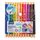 Карандаши акварельные автоматические 12 цветов Aqua, шестигранный корпус, d грифеля 3мм, + кисточка