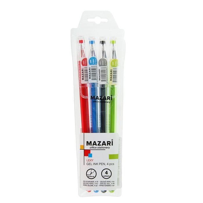 Набор гелевых ручек 4 цвета Lexy, узел 0.5мм, игольчатый пишущий узел в форме кристалла