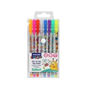 Набор гелевых ручек 8 цветов Debut, блестки, пулевидный пишущий узел 0.8 мм