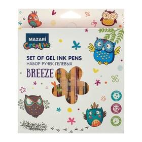 Набор гелевых ручек 12 цветов Breeze, блестки, узел 0.8мм, ароматические чернила