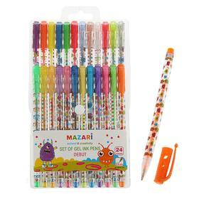 Набор гелевых ручек 24 цвета Debut, блестки, пулевидный пишущий узел 0.8 мм