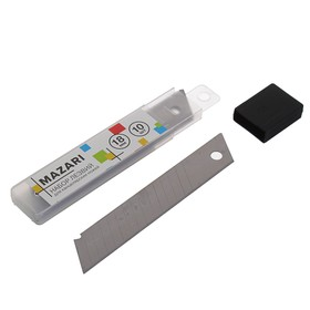 Лезвия для канцелярский ножей 18мм х 100мм, 10 штук в пластиковом пенале Ош
