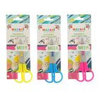 Ножницы детские 12 см, Meer, лезвия из нержавеющей стали, закруглённые концы, пластиковые ручки, блистер, МИКС