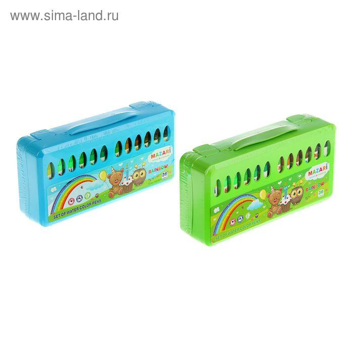 Фломастеры 36 цветов со штампами Rainbow, вентилируемый колпачок, в пластиковом чемоданчике