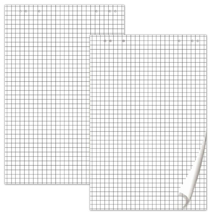 Блокноты для флипчарта комплект 5 штук по 20 листов, клетка, 64х96см, плотность 80 г/м