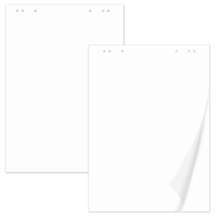 Блокноты для флипчарта комплект 5 штук по 20 листов, чистые, 67х92см, плотность 80 г/м