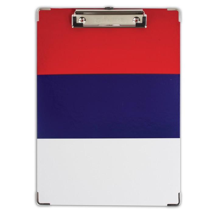 Доска-планшет Flag, с верхним прижимом А4, 22.6х31.5см, Российский флаг, ламинированный картон