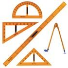 Набор чертежный для классной доски: 2 треугольника, транспортир, циркуль, линейка 100см