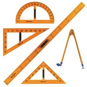 Набор чертежный для классной доски BRAUBERG: 2 треугольника, транспортир, циркуль, линейка 100 см