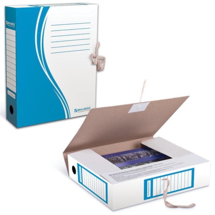 Накопитель документов, Папка с завязками 75мм, 2 завязки, синий, до 700 листов