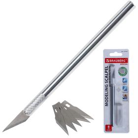 Нож-скальпель металлический корпус, + 5 запасных лезвий, блистер Ош