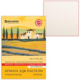 Папка для пастели А3, 297 х 420 мм, 20 листов, тонированная бумага, слоновая кость, ГОЗНАК «Скорлупа», блок 200 г/м²