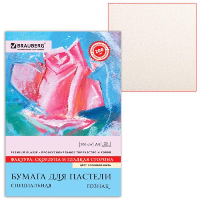 """Папка для пастели А4 210х297мм, 20 листов, тонированная бумага слоновая кость, ГОЗНАК """"Скорлупа"""", 200г/м"""
