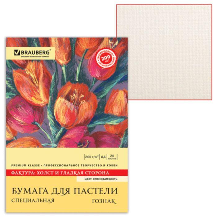 """Папка для пастели А4 210х297мм, 20 листов, тонированная бумага слоновая кость, ГОЗНАК """"Холст"""", 200г/м"""