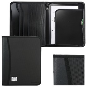 Пaпка на молнии пластиковая, BRAUBERG, А4, 350 х 282 х 33 мм, 2 отделения, 4 кармана, бизнес-класс, чёрная