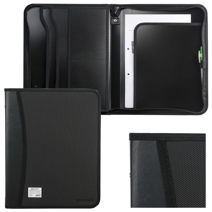 Пaпка на молнии пластиковая, BRAUBERG, А4, 350 х 282 х 33 мм, 2 отделения, 4 кармана, бизнес-класс, чёрная - фото 448831443