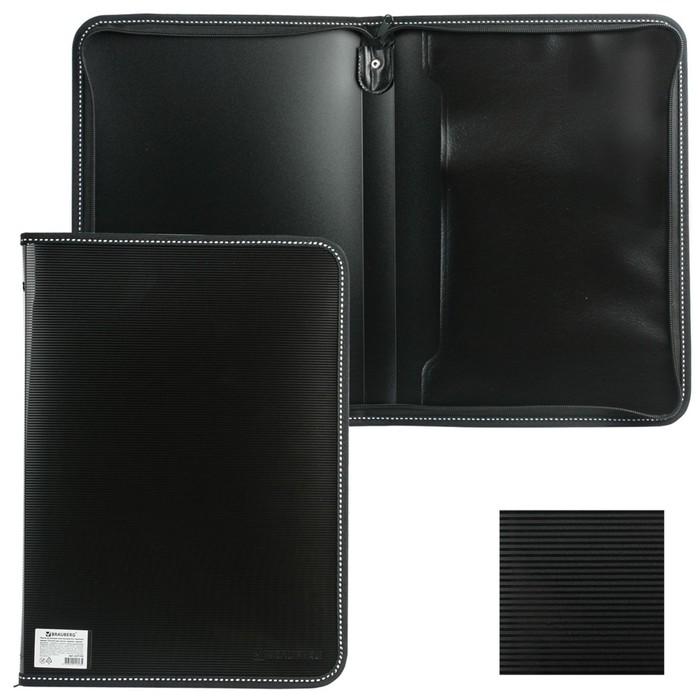 Папка на молнии пластиковая Contract, А4 335х242мм, внутренний карман, черная