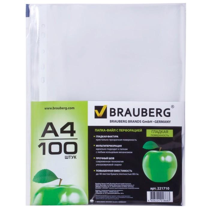 Файл-вкладыш А4, 35 мкм, упаковка 100 штук, гладкие, «Яблоко» - фото 448832567