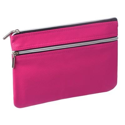 """Пенал-косметичка 240х170х10мм, под фактурную кожу, розовый, 1 отделение, 2 кармана """"Монро"""""""