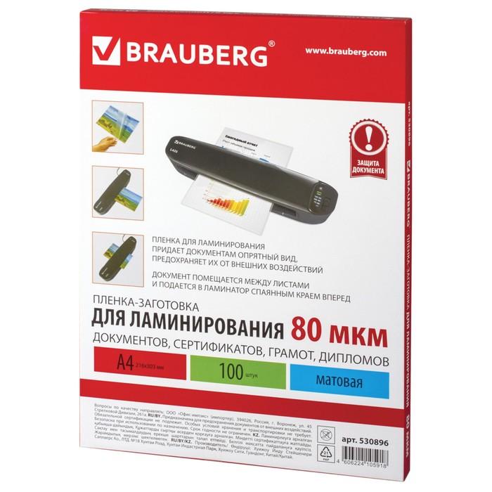 Пленки-заготовки для ламинирования 100 штук, для формата А4, 80 мкм, матовая - фото 450117948