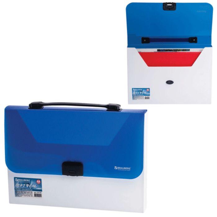 Портфель пластиковый А4 Income, 350х235х35мм, без отделений, бело-синий
