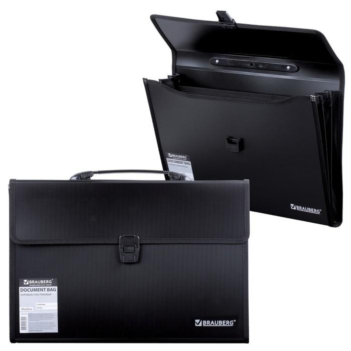 Портфель пластиковый 390х260х40мм, 3 отделения, с окантовкой, черный