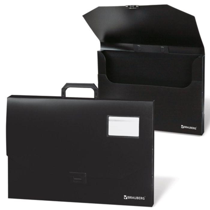 Портфель пластиковый А3, 450х315х60мм, без отделений, черный
