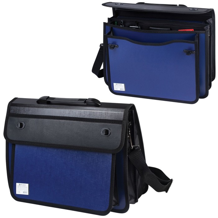 Портфель пластиковый А4+, 370х270х180мм, на 2 замках и ремне, 3 отделения, сине-черный