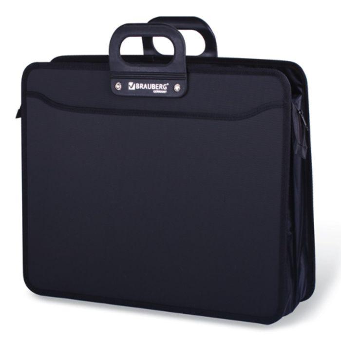 Портфель пластиковый А3 BRAUBERG «Портфолио», 470 х 380 х 130 мм, 3 отделения, на молнии, чёрный