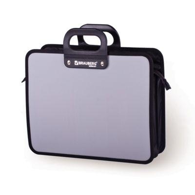 """Портфель пластиковый А4 """"Премьер"""", 390х315х120мм, 3 отделения, на молнии, серый"""
