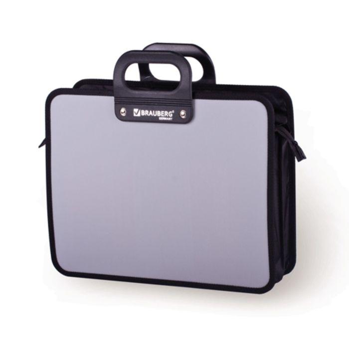 Портфель пластиковый А4 BRAUBERG «Премьер», 390 х 315 х 120 мм, 3 отделения, на молнии, серый