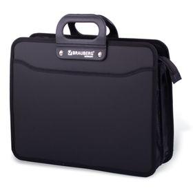 Портфель пластиковый А4 BRAUBERG, 3 отделения, 390 х 315 х 120 мм, на молнии, чёрный