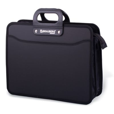 """Портфель пластиковый А4 """"Премьер"""", 390х315х120мм, 3 отделения, на молнии, черный"""