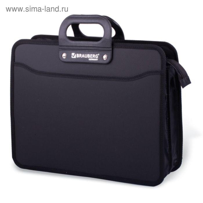 Портфель пластиковый BRAUBERG, премьер, А4, 390х315х120 мм, 3 отделения, на молнии, чёрный