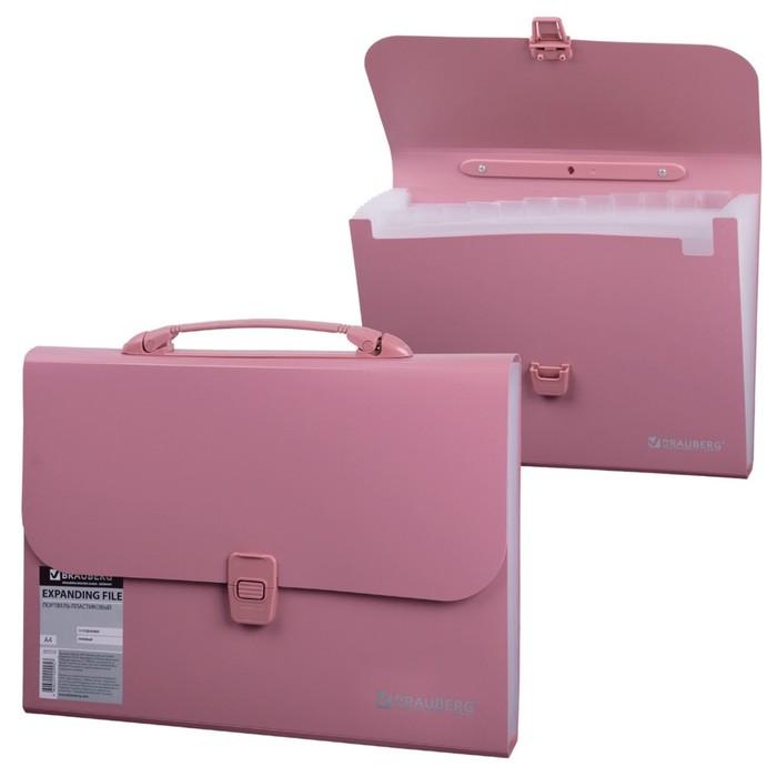 Портфель пластиковый А4, 327х254х30мм, стандартная фактура, 13 отделений, пластиковый индекс, розовый