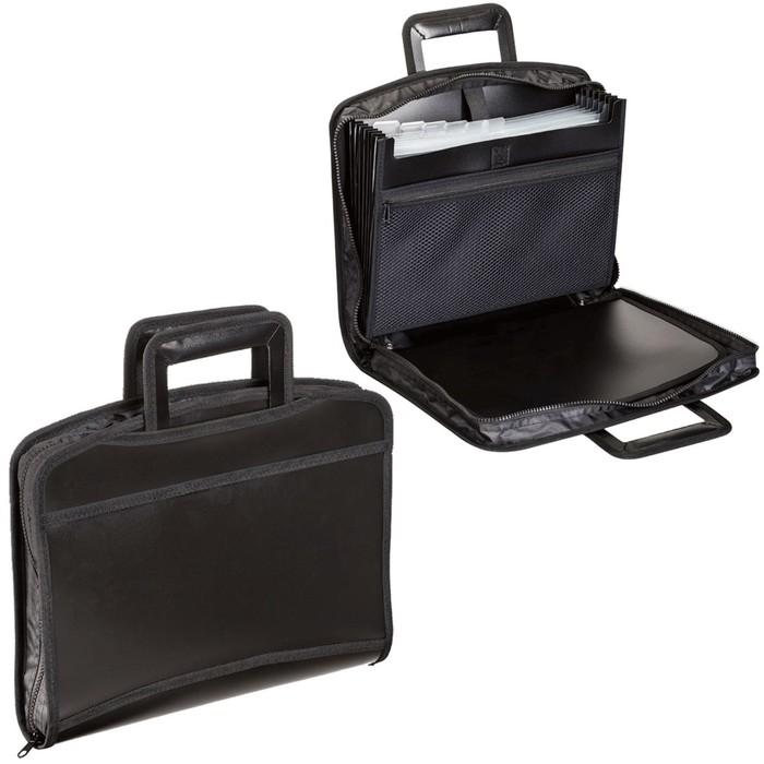 Портфель-папка пластиковый А4+, 355х290х60мм, на молнии, выдвижные ручки, 8 отделений, 2 кармана, черный