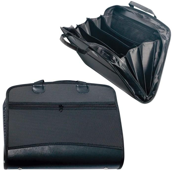 Портфель-сумка пластиковый А4+, 375х305х60мм, на молнии, бизнес-класс, 4 отделения, 2 кармана, черный