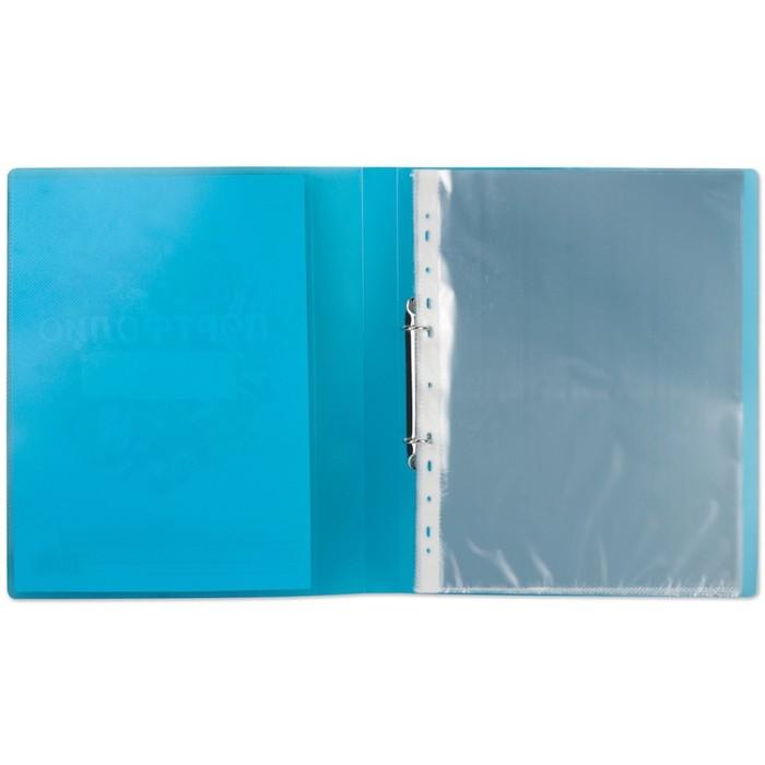 Портфолио школьника, папка, 2 кольца, 20 вкладышей, синяя, полупрозрачная - фото 504884775