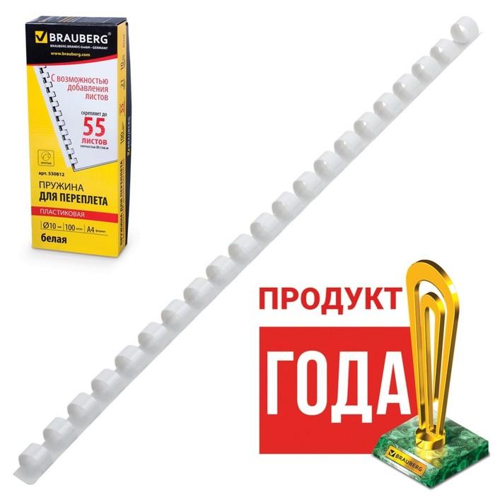 Пружины пластиковые для переплета 100 штук, 10мм (для сшивания 41-55 листов), белые