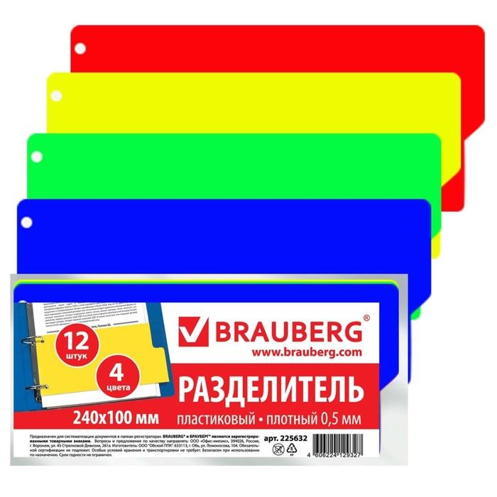 Разделитель пластиковый 105х240мм, 12 листов, без индексации, цветной