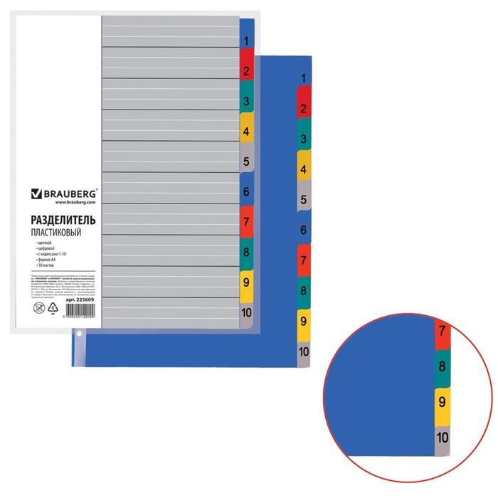 Разделитель пластиковый А4, 10 листов, цифровой 1-10, оглавление, цветной