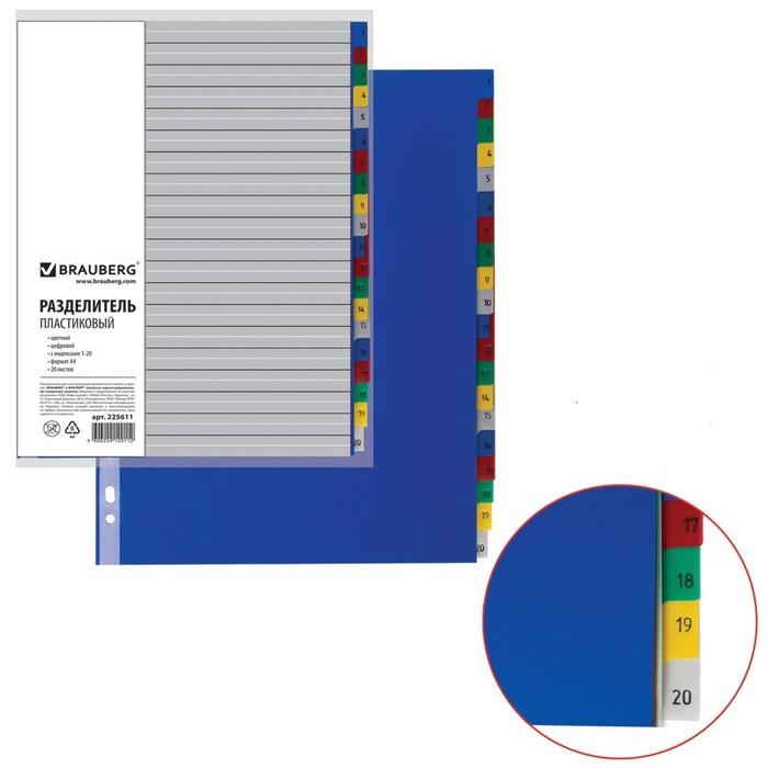 Разделитель пластиковый А4, 20 листов, цифровой 1-20, оглавление, цветной