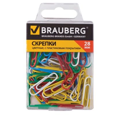 Скрепки канцелярские 28 мм, цветные, 100 штук, пластиковая коробка