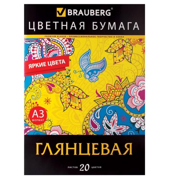 Бумага цветная А3, 20 листoв, 20 цветов, мелованная, односторонняя, в папке, 297 х 420 мм