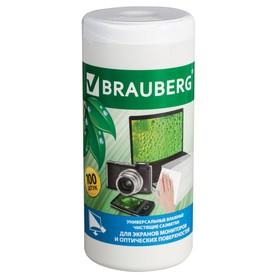 Чистящие салфетки BRAUBERG для мониторов и оптических поверхностей, влажные, в тубе 100 штук