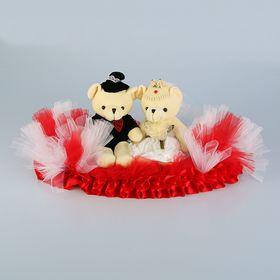 Украшение на крышу «Свадебные мишки», на бело-красной подставке Ош