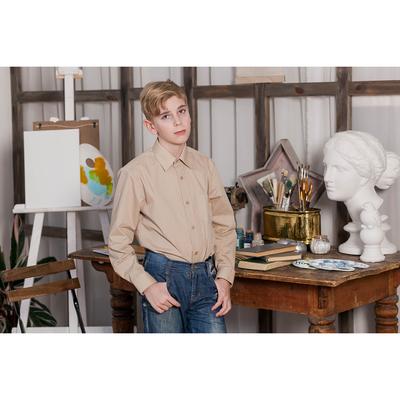 Сорочка для мальчика, рост 134-140 см (32), цвет бежевый 181А