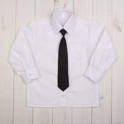 Сорочка для мальчика, нарядная с галстуком, рост 86 см (25), цвет белый  1181_М